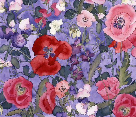 Poppies & Sweet Peas fabric by erinwilliams on Spoonflower - custom fabric