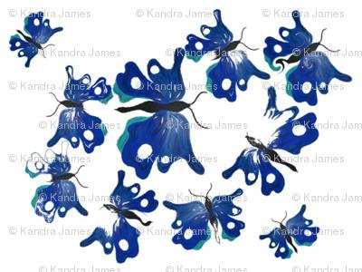 Fluttering Flouncing Blue Butterflies
