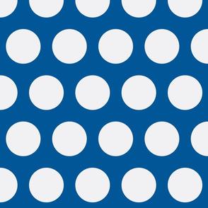 Big White Polka Dots on Blue