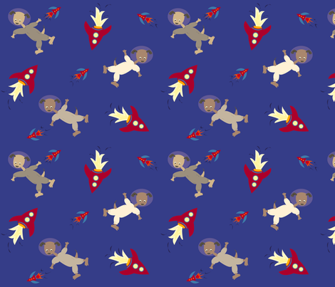 Dogs in Space fabric by featheredneststudio on Spoonflower - custom fabric