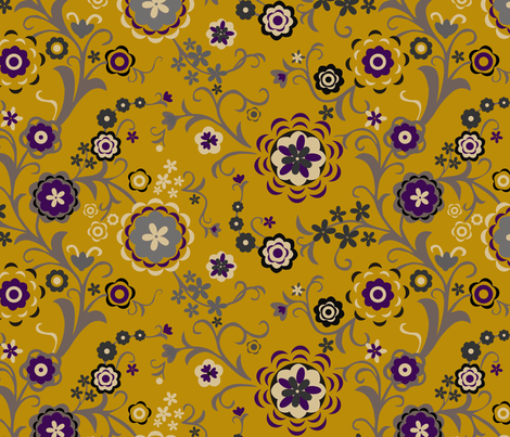 Modern Folk Flowers Major - Mustard fabric by renule on Spoonflower - custom fabric