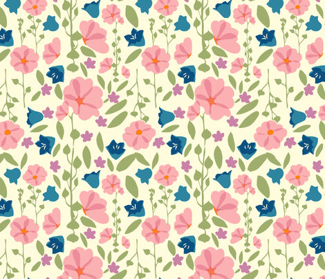 Bright Flower Garden fabric by marlene_pixley on Spoonflower - custom fabric