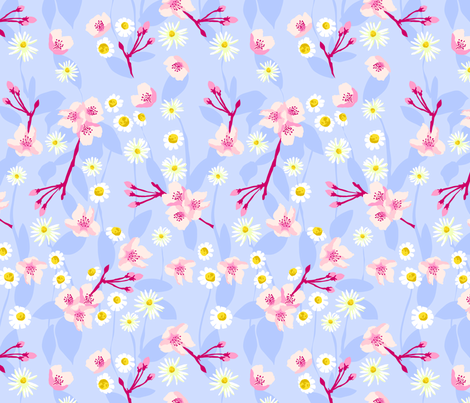 Daisy Apple Blossom fabric by marlene_pixley on Spoonflower - custom fabric