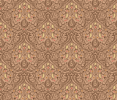 Freehand Damask fabric by marlene_pixley on Spoonflower - custom fabric