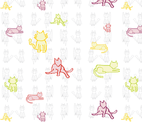MS Paint Cats fabric by cupkates on Spoonflower - custom fabric