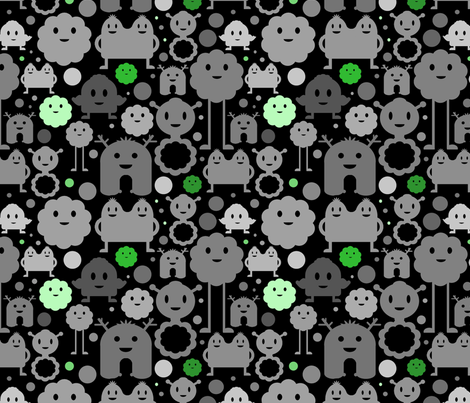Monsters On the Loose - Black and Greens fabric by jesseesuem on Spoonflower - custom fabric
