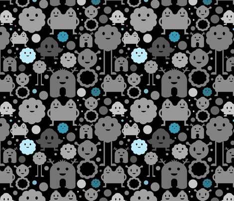 Monsters On the Loose - Black and Blue fabric by jesseesuem on Spoonflower - custom fabric