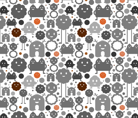 Monsters On the Loose - Grey, Brown and Orange fabric by jesseesuem on Spoonflower - custom fabric