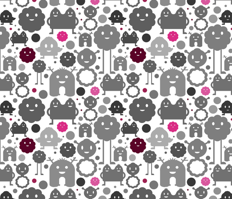 Monsters On the Loose - Grey, Pink and Maroon fabric by jesseesuem on Spoonflower - custom fabric