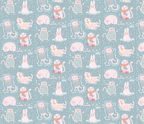 Kittens with mittens fabric by teken-ing on Spoonflower - custom fabric