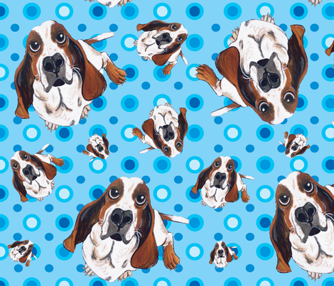 Basset Hound in Blue fabric by asilo on Spoonflower - custom fabric