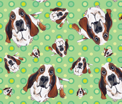 Basset Hound in Green fabric by asilo on Spoonflower - custom fabric