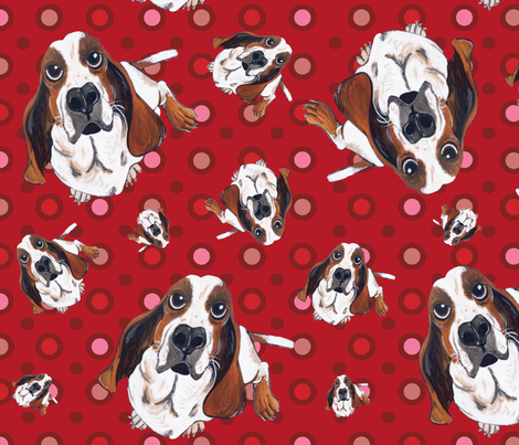 Basset Hound in Red fabric by asilo on Spoonflower - custom fabric