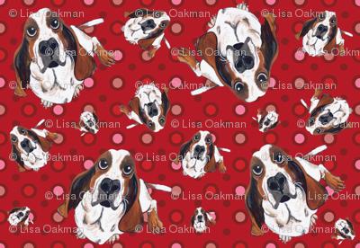 Basset Hound in Red