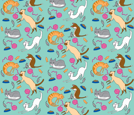 Kooky Cats fabric by lauren_peppiatt on Spoonflower - custom fabric