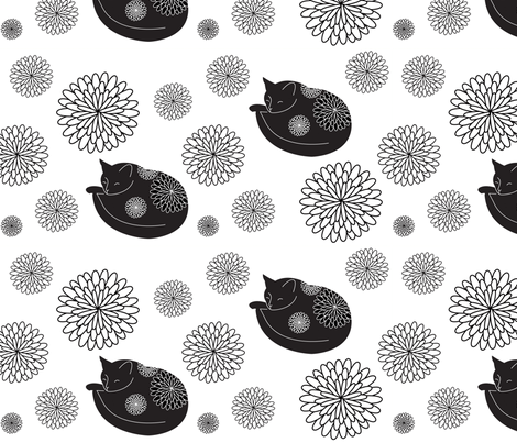 Cats in Bloom fabric by jenimp on Spoonflower - custom fabric