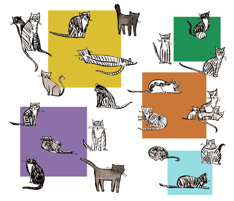 kittyvariations fabric by cinqchats on Spoonflower - custom fabric