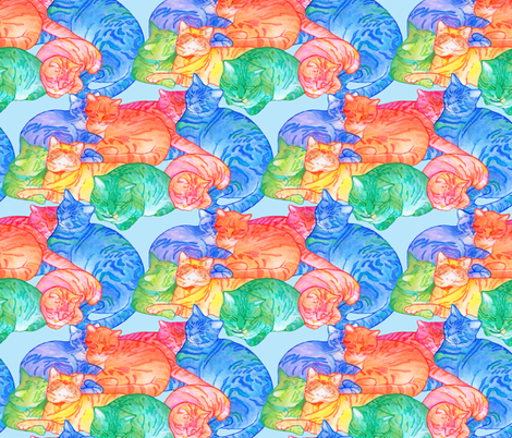 Snugglecats-sky fabric by leslipepper on Spoonflower - custom fabric