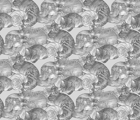 Snugglecats-gray fabric by leslipepper on Spoonflower - custom fabric