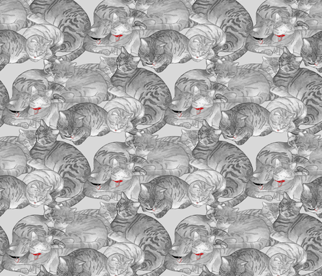 Snugglecats-collars fabric by leslipepper on Spoonflower - custom fabric