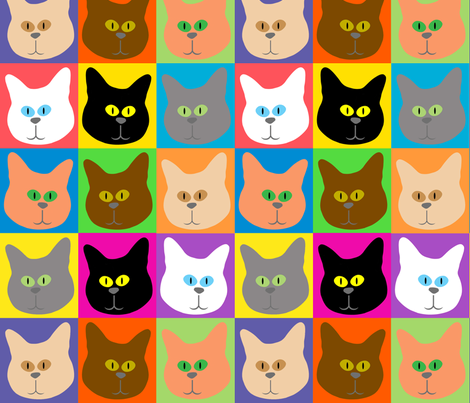 catsinchecks fabric by debrahill on Spoonflower - custom fabric