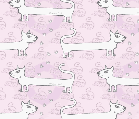 Weiner cat pink  fabric by puncezilla on Spoonflower - custom fabric