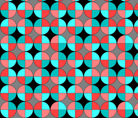 Quarters, in red and aqua