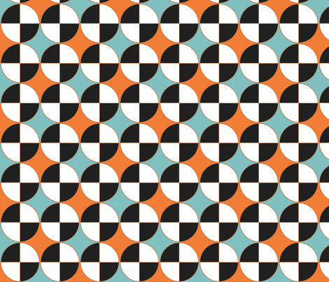 Quarters, in aqua and orange. fabric by wiccked on Spoonflower - custom fabric