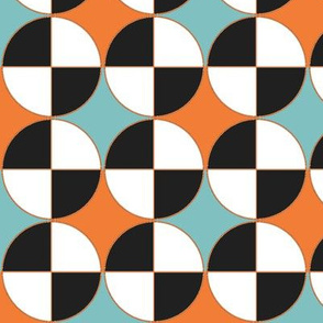 Quarters, in aqua and orange.