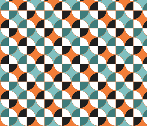 Quarters, in teal and orange,