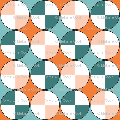 Quarters, in aqua, teal, orange and apricot