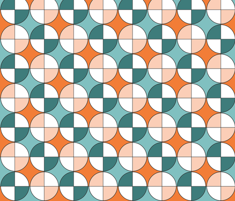 Quarters, in aqua, teal, orange and apricot fabric by wiccked on Spoonflower - custom fabric