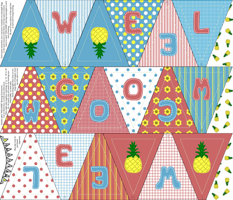 welcome_bunting fabric by victorialasher on Spoonflower - custom fabric
