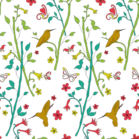 Japanese Floral fabric by patternhillstudio on Spoonflower - custom fabric