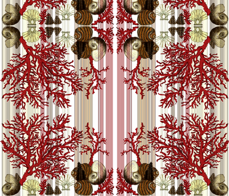 Red Coral and sea shells / mirror fabric by paragonstudios on Spoonflower - custom fabric