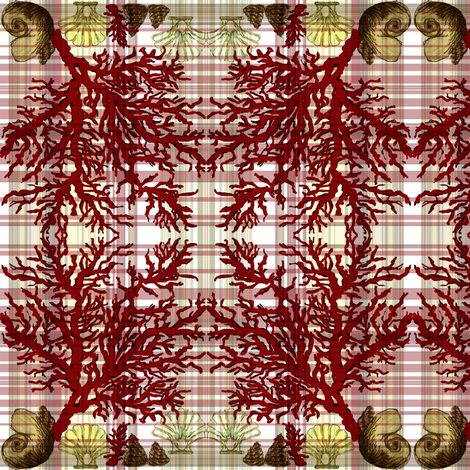 Red Coral Beach / plaid fabric by paragonstudios on Spoonflower - custom fabric