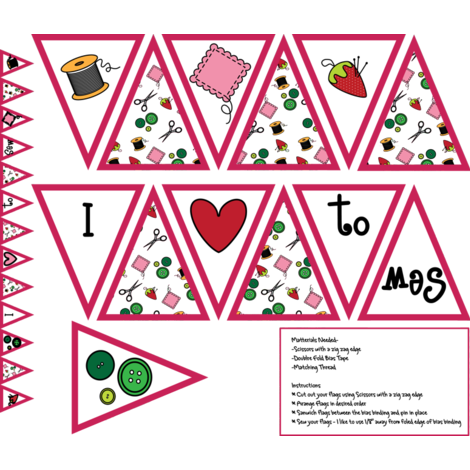 I heart to sew bunting  fabric by jasmilly on Spoonflower - custom fabric