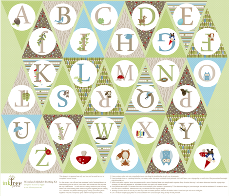 Woodland Alphabet Bunting Kit fabric by inktreepress on Spoonflower - custom fabric