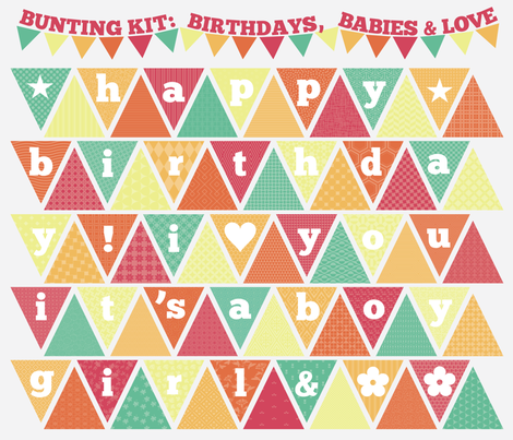 Bunting Kit: Birthdays, Babies, & Love fabric by greencouchstudio on Spoonflower - custom fabric