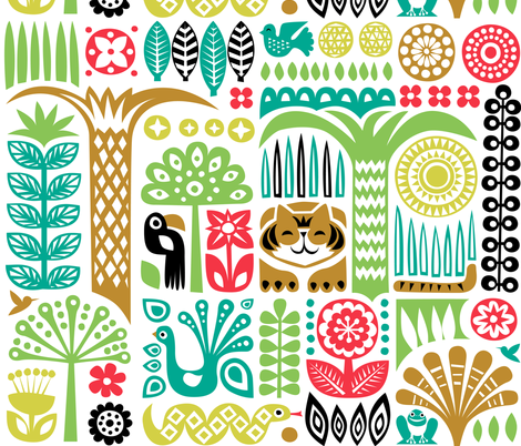 day in the jungle fabric by dennisthebadger on Spoonflower - custom fabric