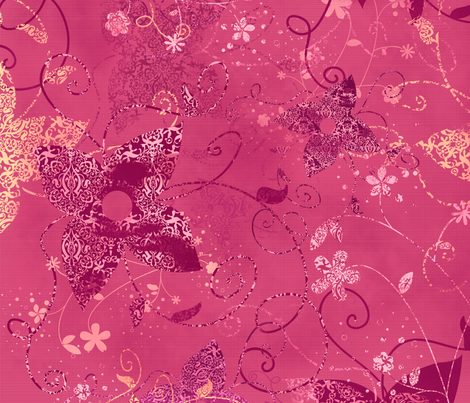 Vintage Garden Pink fabric by kamiekazee on Spoonflower - custom fabric