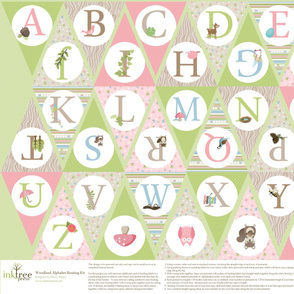 Pink Woodland Alphabet Bunting