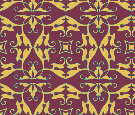 rococo, in plum fabric by wiccked on Spoonflower - custom fabric