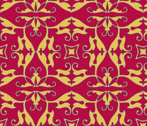 rococo, in red fabric by wiccked on Spoonflower - custom fabric