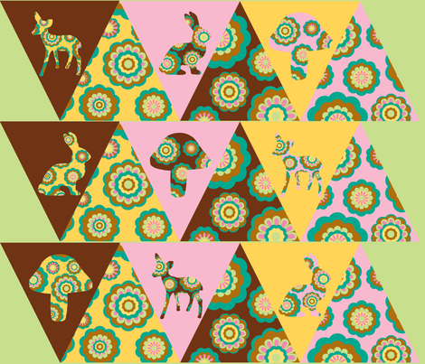 retro woodland bunting fabric by uzumakijo on Spoonflower - custom fabric