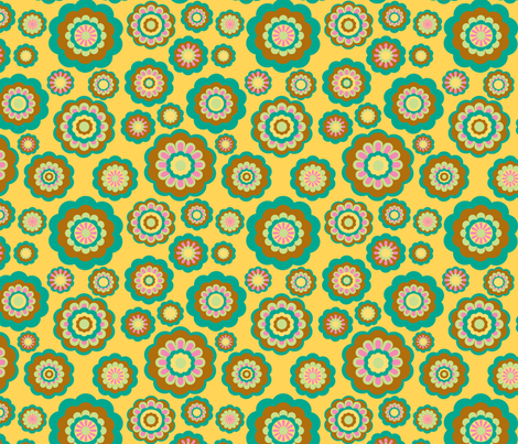 retro woodland flowers on yellow fabric by uzumakijo on Spoonflower - custom fabric