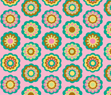 retro flowers on pink - large rows fabric by uzumakijo on Spoonflower - custom fabric