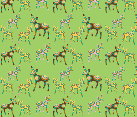 retro flower deer on green fabric by uzumakijo on Spoonflower - custom fabric