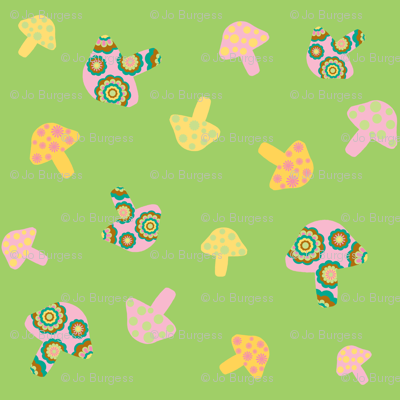pink and yellow mushrooms on green