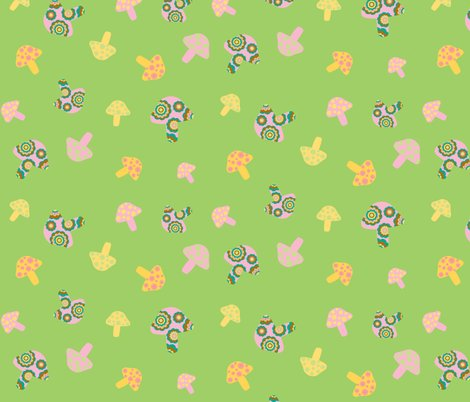 Rpink_and_yellow_mushroom_toss_on_green_tile_16inch_copy_shop_preview